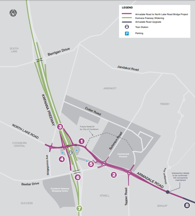 Armadale Road to North Lake Road Map